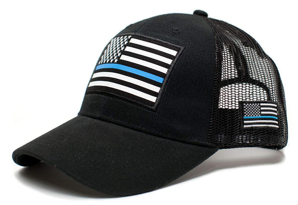 Posse Comitatus Thin Blue Line USA Flag Unisex Adult One-Size Cap Hat Black