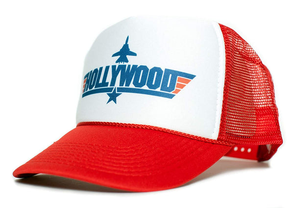 HOLLYWOOD Top Gun Unisex-Adult Trucker Cap Hat -One-Size Multi (Red/White)