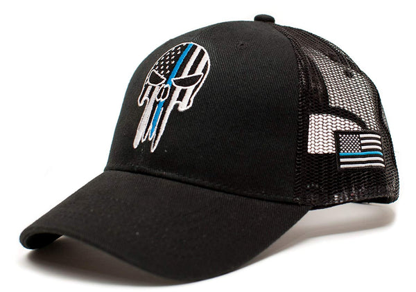 Punisher Skull Thin Blue Line USA flag Posse Comitatus Adult One-Size Cap Hat Black