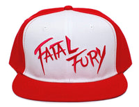Fatal Fury Embroidered Flat Bill Unisex-Adult Trucker Hat -One-Size Red/White