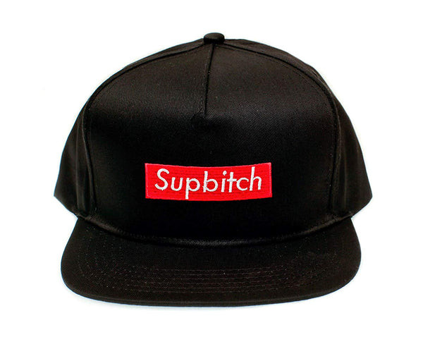 Posse Comitatus Supbitch Funny Hat One Size Flat Bill Cap Unisex Black