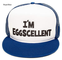I'm Eggscellent Flat Unisex-Adult Trucker Hat -One-Size Royal /White/Royal
