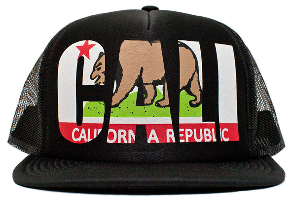 California Republic Cali Flag Unisex-Adult One-size Trucker Hat Black/Black