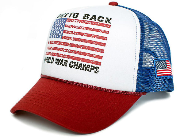 Back To Back World War Champs Champions Hat Cap Trucker Royal/Red Curved