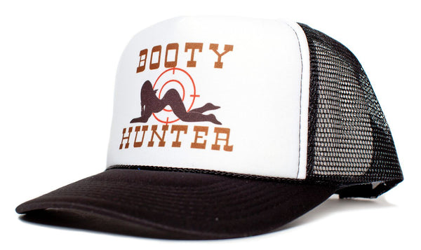 Booty Hunter Unisex – Adult Curved Bill Truckers Cap Hat Snapback Black/White