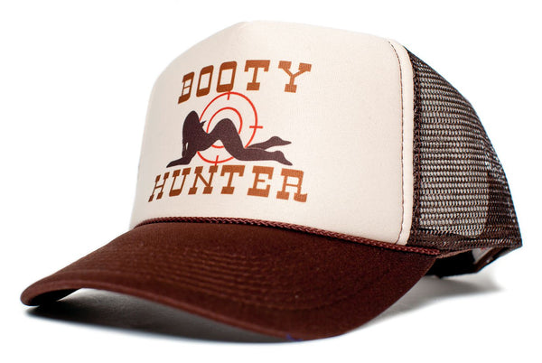 Booty Hunter Unisex - Adult Curved Bill Truckers Cap Hat Snapback Tan/Brown