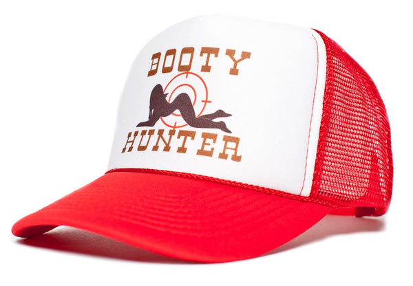Booty Hunter Unisex - Adult Curved Bill Truckers Cap Hat Snapback Red/White