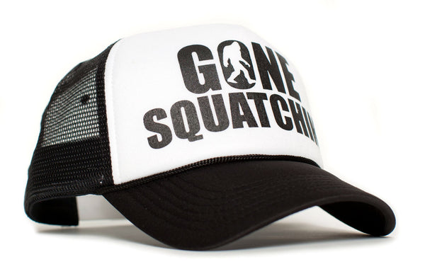 Gone Squatchin' Big Foot Sasquatch Bobo Black/White Truckers Cap Hat Curved