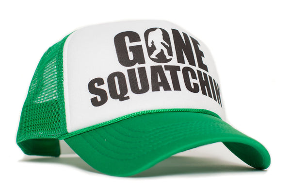 Gone Squatchin' Big Foot Sasquatch Yeti Green/White Truckers Cap Hat Curved