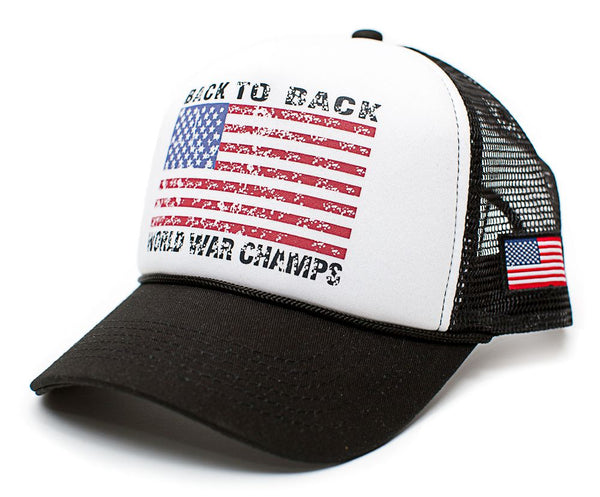 Back To Back World War Champs Champions Hat Cap Trucker Black/White Curved