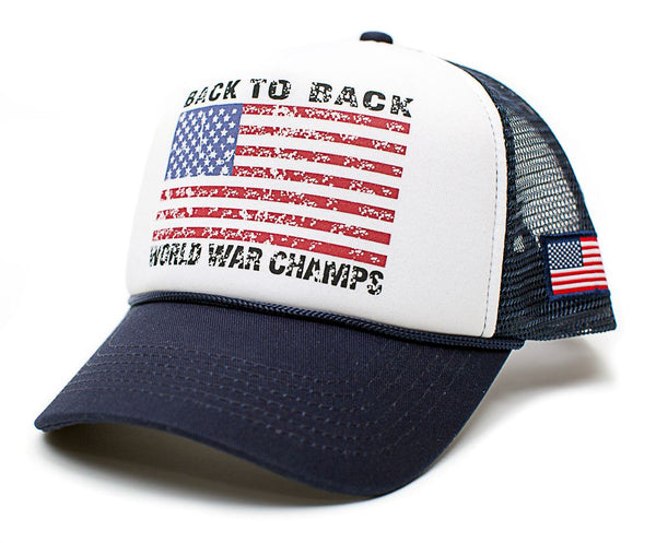 Back To Back World War Champs Champions Hat Cap Trucker Navy/White Curved
