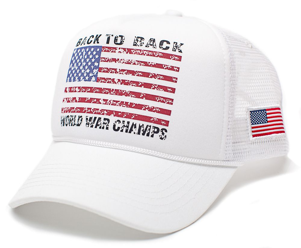56c8ca3b531 Back To Back World War Champs Champions Hat Cap Trucker White White Cu –  capenvy.com