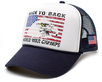 Eagle Back To Back World War Champs Unisex-Adult Cap -One-Size Navy/White