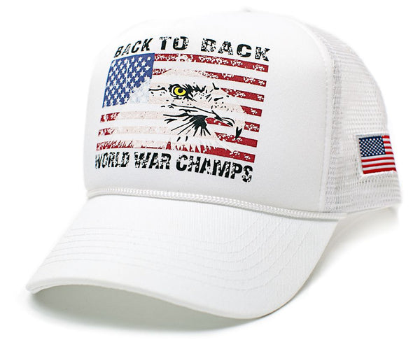 Eagle Back To Back World War Champs Unisex-Adult Cap -One-Size White/White