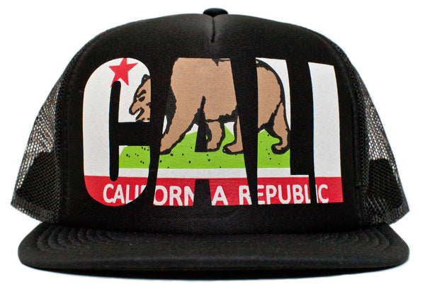 Retro State of California Flag Cali Sunshine Hat Cap Black