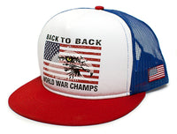 Eagle Back To Back World War Champs Unisex-Adult Cap -One-Size Royal/White/Red Flat Bill