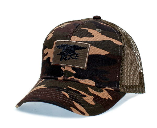 Military Camo Hat Magnum PI Tom Selleck Embroidered Patch Cap Truckers