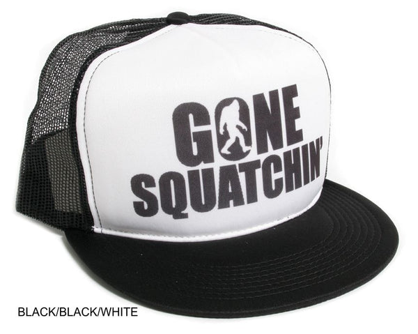 Gone Squatchin' Flat Bill Black on Black Hat Cap