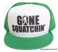 Gone Squatchin' Flat Bill White on Green Hat Cap