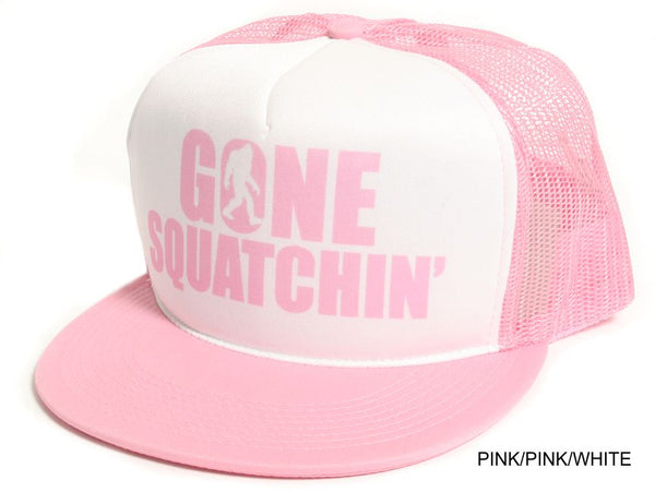 Gone Squatchin' Flat Bill White on Pink Hat Cap