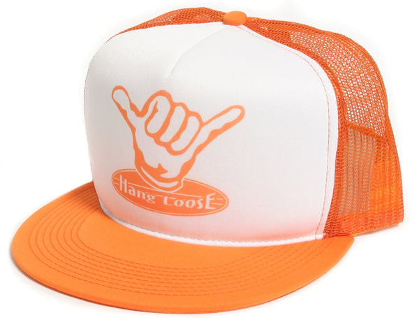 Retreo Surf Hang Loose Orange Hat Cap Mesh/Foam Truckers Snapback Orange
