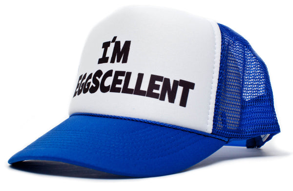 I'm Eggscellent Excellent Hat Cap Curved Royal/White The Regular Show