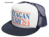 New Flat Bill 'Ronald Reagan George Bush 84′ Campaign Hat Cap Navy