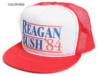 New Flat Bill 'Ronald Reagan George Bush 84′ Campaign Hat Cap Red