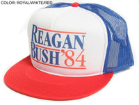 New Flat Bill 'Ronald Reagan George Bush 84′ Campaign Hat Cap Royal White Red