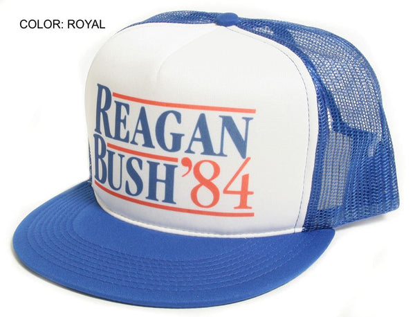New Flat Bill 'Ronald Reagan George Bush 84′ Campaign Hat Cap Royal