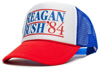 'Ronald Reagan George Bush 84' Campaign Hat Cap Royal/Red New Curved Bill