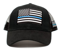 Thin Blue Line USA flag Posse Comitatus Unisex Adult One-Size Cap Hat Black