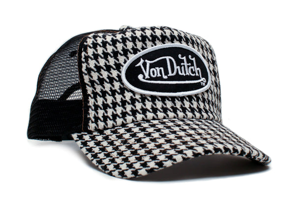 Von Dutch Hound's-tooth Vintage (2005) Trucker Hat Cap Rare Specialty Fabric