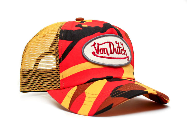 Von Dutch Tangerine Camo Vintage (2005) Truckers Hat Cap Snap Back