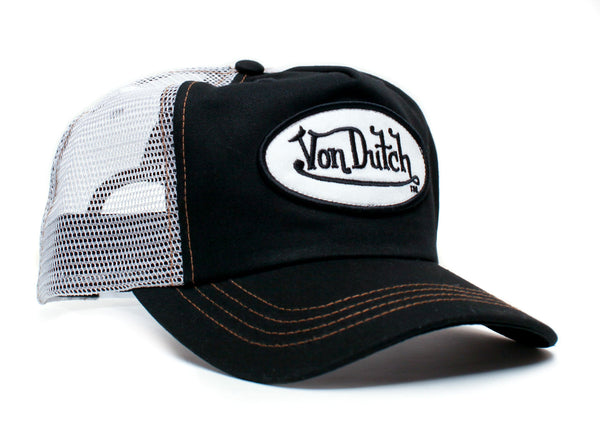 Von Dutch White Mesh Black Front Vintage (2005) Truckers Hat Cap Snap Back