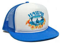 Vintage Distressed Hawaii Hawaiian Surfer Surfing Hat Cap Snap back Foam Mesh Royal