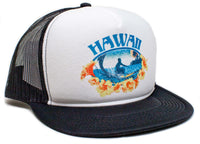 Vintage Distressed Hawaii Hawaiian Surfer Surfing Hat Cap Snap back Foam Mesh Black