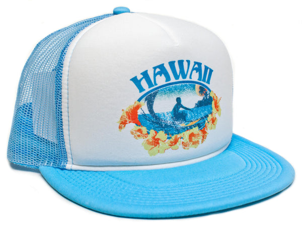 Vintage Distressed Hawaii Hawaiian Surfer Surfing Hat Cap Snap back Foam Mesh Blue