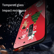 1 Pcs Phone Case Luxury Glass Back Cover Christmas Style Tempered Glass Hard Phone Case For Samsung Galaxy S8 S9 Plus Note 8