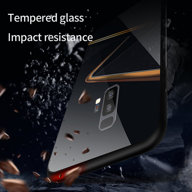 1 Pcs Phone Case Luxury Glass Back Cover The Keys Pattern Tempered Glass Hard Phone Case For Samsung Galaxy S8 S9 Plus Note 8