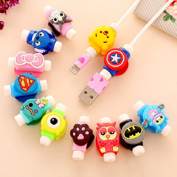 1 Pc Cartoon For LG FOR SONY For One Plus Cable Protect Stitch Pooh Cute Cable Protector De Cabo USB Cable Winder Cover Case