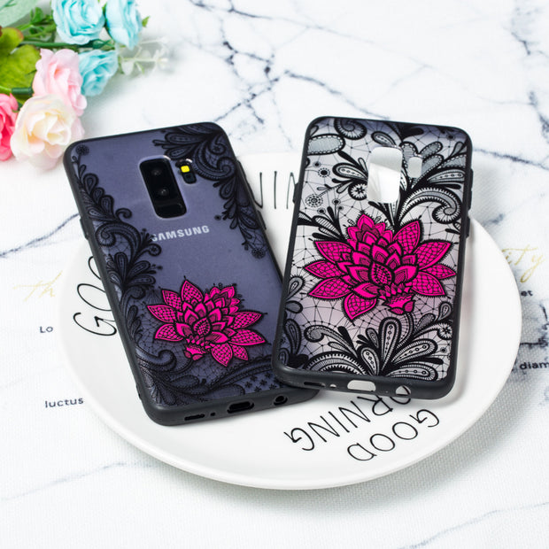 1pcs/lot Sexy Black Lace Flower Back CASE For Samsung S6 S7 Edge S8 S9 Plus Case For Note 8 9 A6 A8 Plus J2 Pro J4 J6 J8 2018