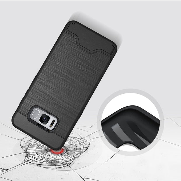 2 In 1 Combo Case For Samsung Galaxy S8 S8 Plus Case Stand Holder Cover Hidden Card Slot Phone Cases Brushed Case Capa