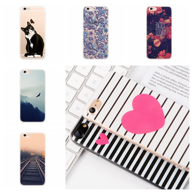 2017 New Pattern Phone Cases For IPhone 7 8 6 6S Plus 5S SE 5 X 4 4S Fruits Animals Flower Printed Cover Capa TPU Silicon Fundas
