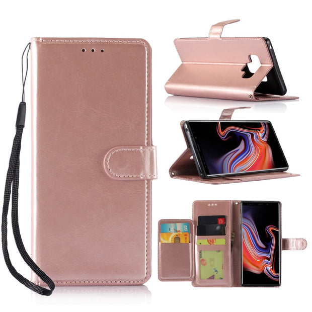2018 Case For Galaxy Note 9 Phone Case Cover Wallet PU Leather Flip Phone Case ID&Credit Cards Pocket Marve Phone Case Pink New