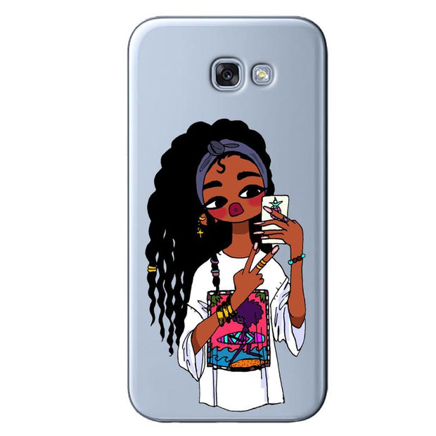 2bunz Melanin Poppin Aba Soft Silicone Phone Case For Samsung Galaxy S6 S7 Edge S8 S9 Plus Fashion Black Girl Cover For Note 8 9