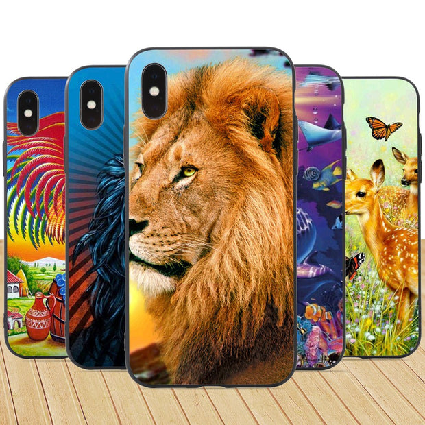3D Animal Print Shockproof Phone Protective Case Cover For IPhone Xs 7 8 Plus