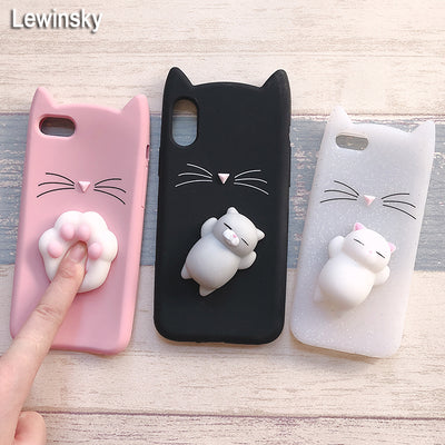 3D Cute Japan Glitter Bearded Cat Case For Iphone 5 5S SE X Squishy Cat Cases For Iphone 7 8 6 6S Plus Silicone Mobile Phone Bag