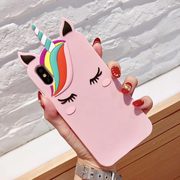 3D Designer Fancy Unicorn Pony Jelly Anti-knock Silicone Soft Full Cover Phone Case For IPhoneX 6s 8 7plus Shell Protection
