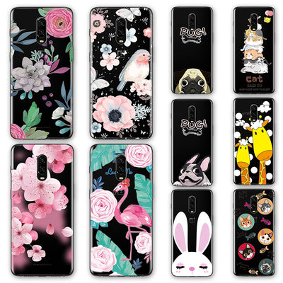 3D Emboss Flamingo Phone Case Bags For Onplus 6T 1+6T Cartoon Peach Lace Silicone Back Cover Case For One Plus 6T A6010 6.4""
